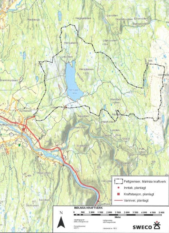 Kart som viser nedslagsfeltet og vannveier til kraftverket.