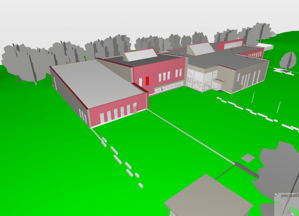 Slik blir ungdomsskolen seende ut. Farge og små detaljer er ikke 100% spikret enda, men skissen viser hvordan arkitekturen og det store uteområdet blir. Bildet er et utklipp fra BIM-modellen.