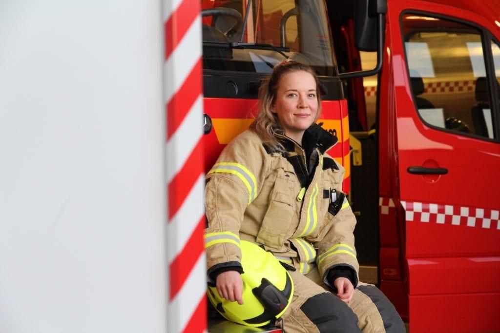 Johanna Marie Lien er Selbus første kvinnelige brannmann.