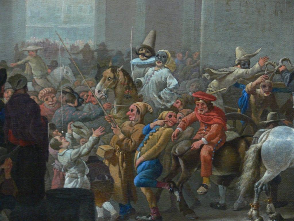 Fastelavn markerer tradisjonelt slutten på karneval. Bidet viser maleriet Karneval i Roma av Johannes Lingelbach (1650-1651). Av Kunsthistorisches Museum.